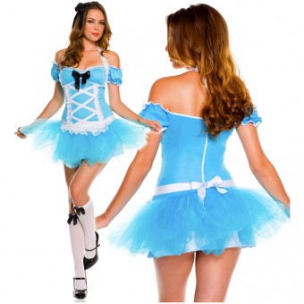 Bright Fun Flirty Three Piece Sexy Miss Alice Tutu Dress w/ Head Piece Knee Hi Costume Cosplay