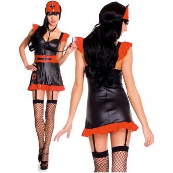 Five Piece Gothic Nurse Dress Attached Waist Cincher w/ Head Piece Stethoscope Garter Clips Thigh Hi