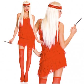 Sexy Flirty Four Piece All Around Fringe Bright Solid Color Top Skirt w/ Head Piece Thigh Hi