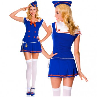 Sexy Flirty Hot Four Piece Sassy Sailor Collared Dress w/ Hat Loop Belt w/ Anchor Thigh Hi