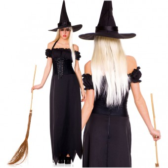 Sexy Naughty Hot Evil Two Piece Long Off Shoulder Witch Dress w/ Hat Halloween Costume Cosplay