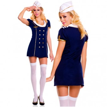 Naughty Sexy Flirty Three Piece Private Jet Captain Dress w/ Hat Thigh Hi Halloween Costume