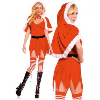 Fun Sexy Christmas Four Piece Santa Baby Dress w/ Jingle Baby Trim w/ Cape Belt Thigh Hi