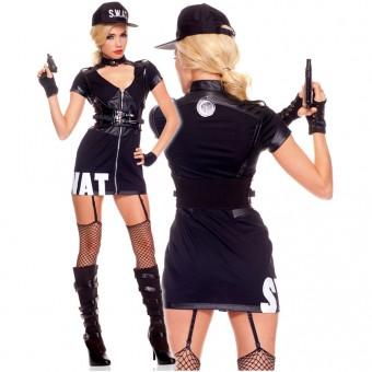 Naughty Five Piece Zip Front SWAT Dress w/ Detachable Garter Clips Gloves Waist Cincher Thigh Hi