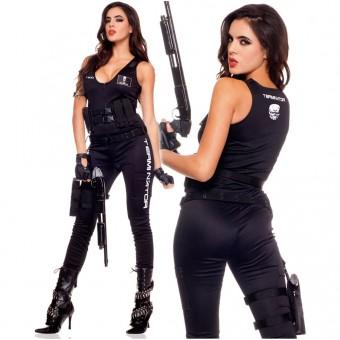 Five Piece Women's Terminator Jumpsuit w/ Glasses Biker Gloves Cartridge Belt Belt w/ Holster