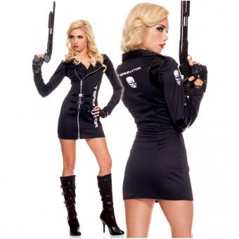 Hot Vixen Three Piece Women's Terminator Biker Dress w/ Snap Buckles w/ Glasses Biker Gloves