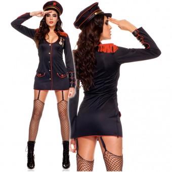 Hot Vixen Four Piece Long Sleeves Marine Uniform w/ Hat Garter Clips Thigh Hi Costume Cosplay
