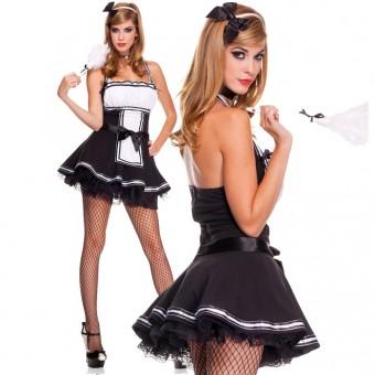 Four Piece Halter Maid Dress w/ Bow Ribbon Trim w/ Headband Choker Feather Duster