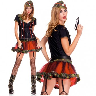 Five Piece Zip Front Top Tutu Dress w/ Detachable Garter Clips Belt Hat Thigh Hi Costume Cosplay