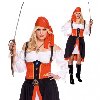 Three Piece Pirate Dress w/ Head Scarf Belt w/ Cross Bone Buckle (Sword Necklace Not Included)