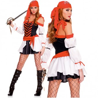 Four Piece Off Shoulder Pirate Dress w/ Pearl Band Head Scarf Waist Sash (Sword / Necklace Not Included)