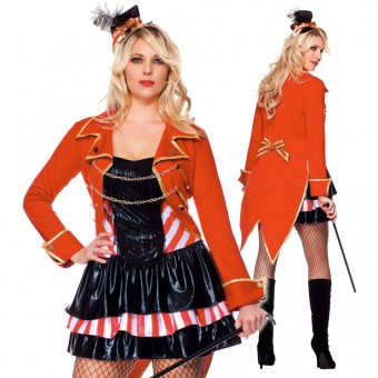 Two Piece Ringleader w/ Gold Trim Jacket w/ Metallic Gold Chain (Top Hat / Bullwhip Not Included)
