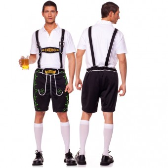 Two Piece Men's Lederhosen Set w/ Shorts Bib Suspender Matching Shirt (Knee Hi Not Included)