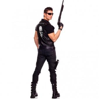 Three Piece Men's Terminator Vest w/ Authentic Looking Men's Zip Up Motorcycle Vest Glasses Gloves