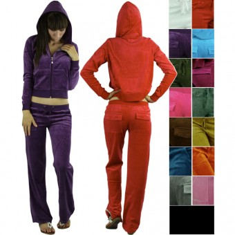 Comfy Soft Plush Velour Suit Hoodie Sweat Set Tracksuit Drawstring Lounge Pants