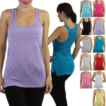 Tunic Racerback Tank Top With Front Pocket