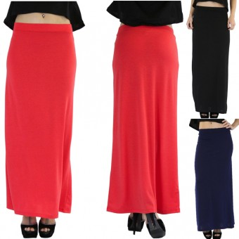 Polyester Stretchy Slim Fit Jersey Maxi Skirt Flared Bottom