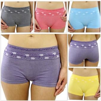 Tagless Elastic Seamless Nylon Floral Boyshort Panties Base Layer