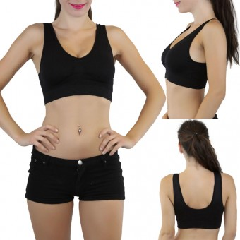 Pack of 5 Seamless Microfiber Padded Scoop Back Sports Bra - One Size