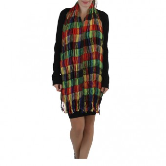 Pack of 2 MultiColored Patchwork-Style Scarves with Fringe - One Size