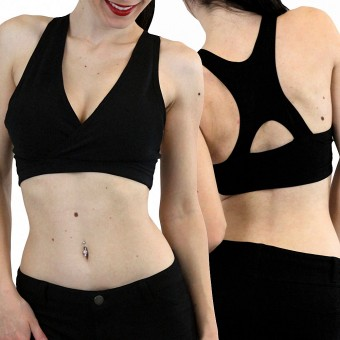 Women's Comfortable Wire-Free Crossover Racerback Sports Bra