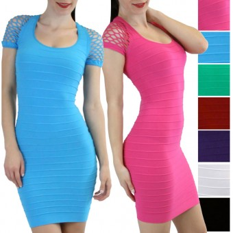 Women's Sexy Seamless Bodycon Bandage Cocktail Dress With Fishnet Cap Sleeves - Black - One Size