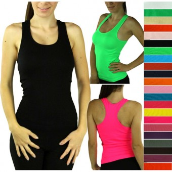 Seamless Ribbed Racerback Sports Tank Top Blouse Yoga Activewear Cami - One Size