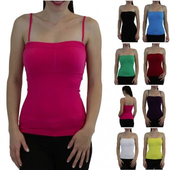 Seamless Padded Convertible Strapless Ribbed Bandeau Tube Tank Top