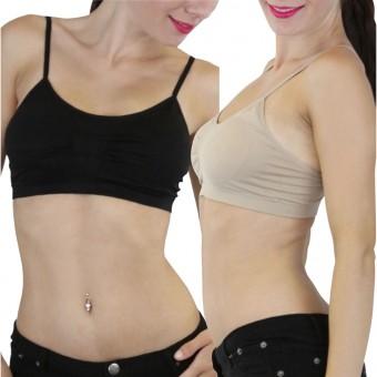 Seamless Stretchy Padded Sports Bralette Adjustable Straps - One Size