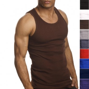 2 Pairs of Premium Quality 100% Cotton Mens A-Shirt Undershirt Muscle Tank -  -
