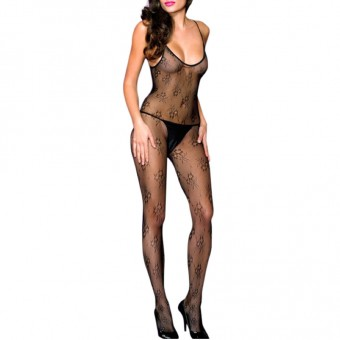 Lace Spaghetti Strap Crotchless Bodystocking Color: Black