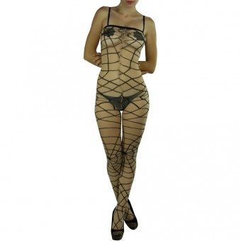 Spider Web Print Bodystocking With Open Crotch - One Size