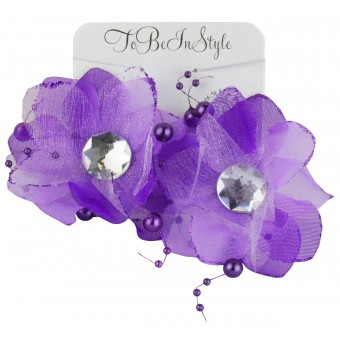 Beautiful Violet Flower Hair Clips