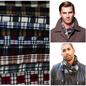 Men's 6-Pack Striped Polyester Fleece Muffler Scarf Assorted Colors - One Size