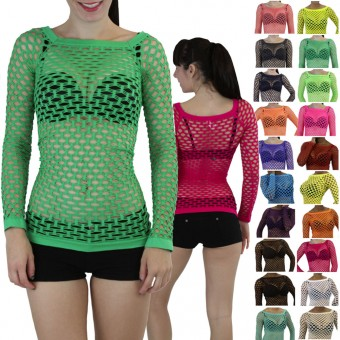 Elastic Nylon-Spandex Long Sleeve Fishnet Layer Blouse Top - One Size