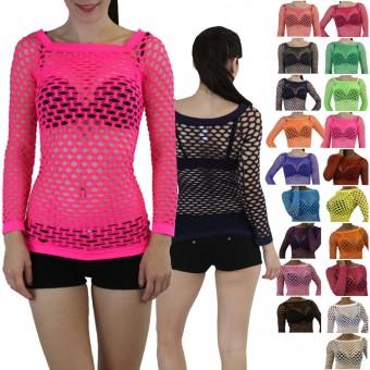 A Sexy Long Sleeve Fishnet Shirt Women Tops Blouse GoGo Dance Wear