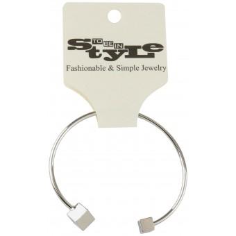 Simple Silver-Tone Cube Ends Bracelet