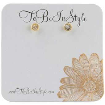 Fashionable Goldtone Encrusted Crystal Stud Earrings