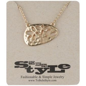 Fancy Gold-Tone Canvas Pendant Necklace