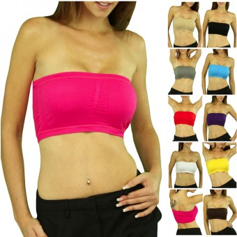 Padded Strapless Sleeveless Nylon Elastic Bandeau Tube Top
