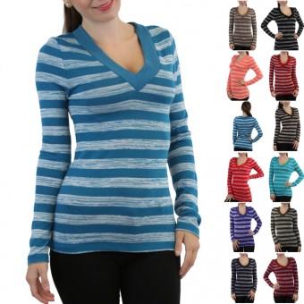 Soft Knit V-Neck Striped Long Sleeve Top