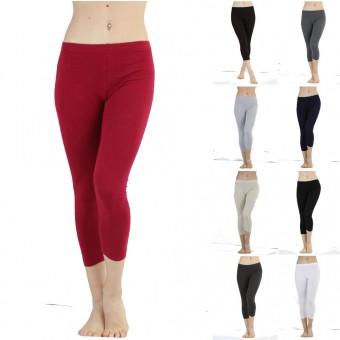 Seamless Cotton Stretchy Band Yoga Activewear Capri Leggings