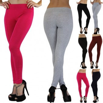 Skinny-Fit Cotton Blend Leggings with Decorative Front Seams