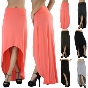 Asymmetrical High Low Hem Maxi Skirt