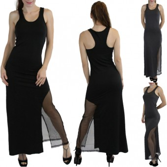 Side Mesh-Split Racerback Elastic Waist Y-Back Maxi Dress