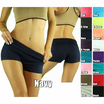 Women's Comfy Essential Soft Knit Foldover Gym Yoga Short Activewear