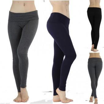 Seamless Cotton Skinny Fit Foldover Waist Yoga Pant Leggings