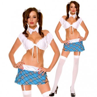 Sexy Enchanted High School Babe's Gathered Tie Front Top w/ Side Slit Lace Up Plaid Skirt w/ Thigh Hi