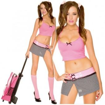 Sexy Naughty Flirty Prep School Drop Out Stretch Halter Top w/ Vinyl Trim Checker Skirt w/ Knee Hi