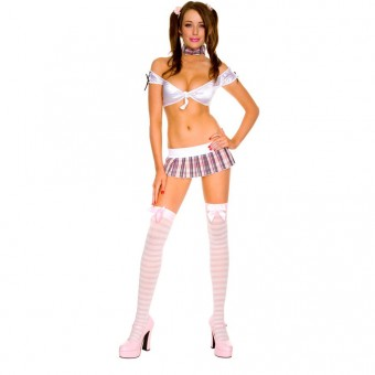 Outlaw School Girl Stretch Tie Front Top w/ Pleated Plaid Skirt Including Choker w/ Bow Halloween Costume